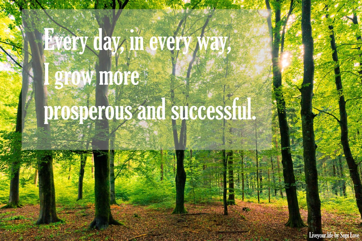 Mantra of the week: Every day, in every way,  I grow more prosperous and successfull.